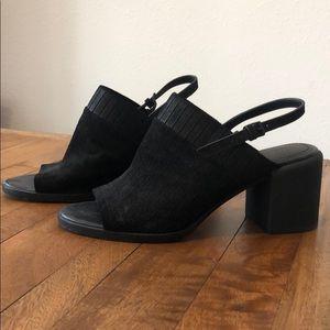 DKNY black open toe sling back heels.